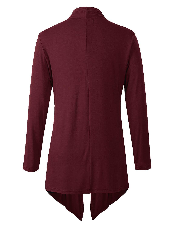 Eanklosco Women\'s Long Sleeve Drape Open-Front Cardigan Light Weight Irregular Hem Casual Tops (XL, Wine Red)