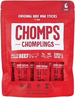 product image for CHOMPS MINI Grass Fed Beef Jerky Meat Snack Sticks, Keto Snack, Paleo, Whole30 Approved, Low Carb, Protein, Gluten Free, Sugar Free, Nitrate Free, 40 Calories 0.5 Oz Sticks, Original Beef 6 Pack Bag…