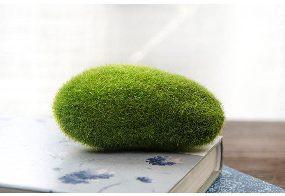 Green Artificial Flocking Moss Balls Decorative Faux Moss Stones For