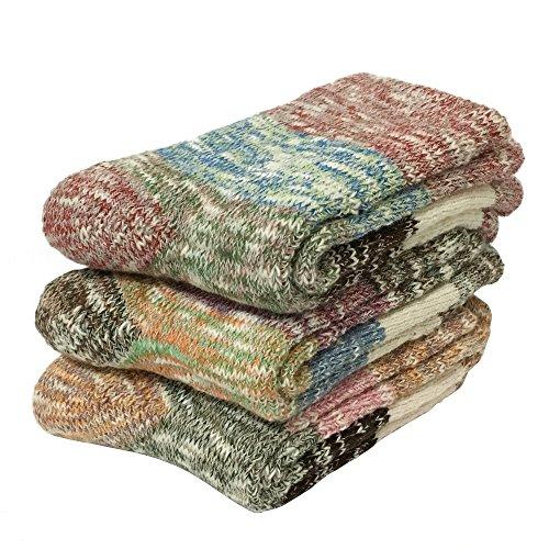 Tdeal 3 Pairs Womens Warm Wool Crew Socks Vintage Cotton Super Thick Soft Winter Sock
