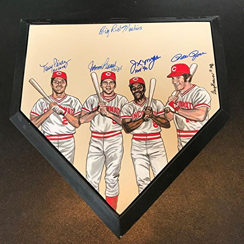 Big Red Machine Hand Signed - Beautiful Cincinnati Reds Big Red Machine Signed Hand Painted Home Plate - PSA/DNA Certified - Original MLB Art and Prints