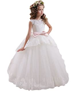 13359fbc1201c KekeHouse® Layered Sleeveless Flower Girl's Dress for Wedding Lace  Appliques Kid Communion Dress Sash Bow