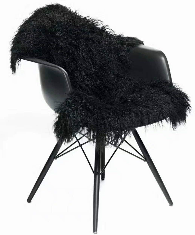 Genuine Tibetan Rug Mongolian Lamb Sheepskin Curly Fur Pelt Throw Fur Area Rug Carpet Chair Cover with Super Fluffy Thick Decorativeas Throw Rug in Bedroom, Living Room,Black