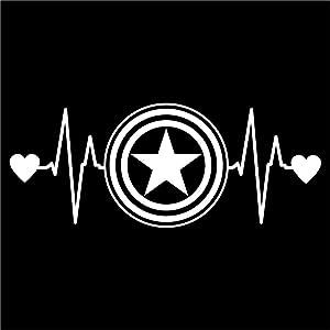 CCI Captain America Love Heartbeat Avengers Marvel Decal Vinyl Sticker|Cars Trucks Vans Walls Laptop| White |6.5 x 2.5 in|CCI1462