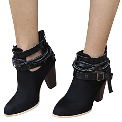 a4cf607b57a3e OHQ Bottines à Talons Hauts pour Femmes Martin Boots Chaussures Rouge Noir  Cheville Short Booties Cuir