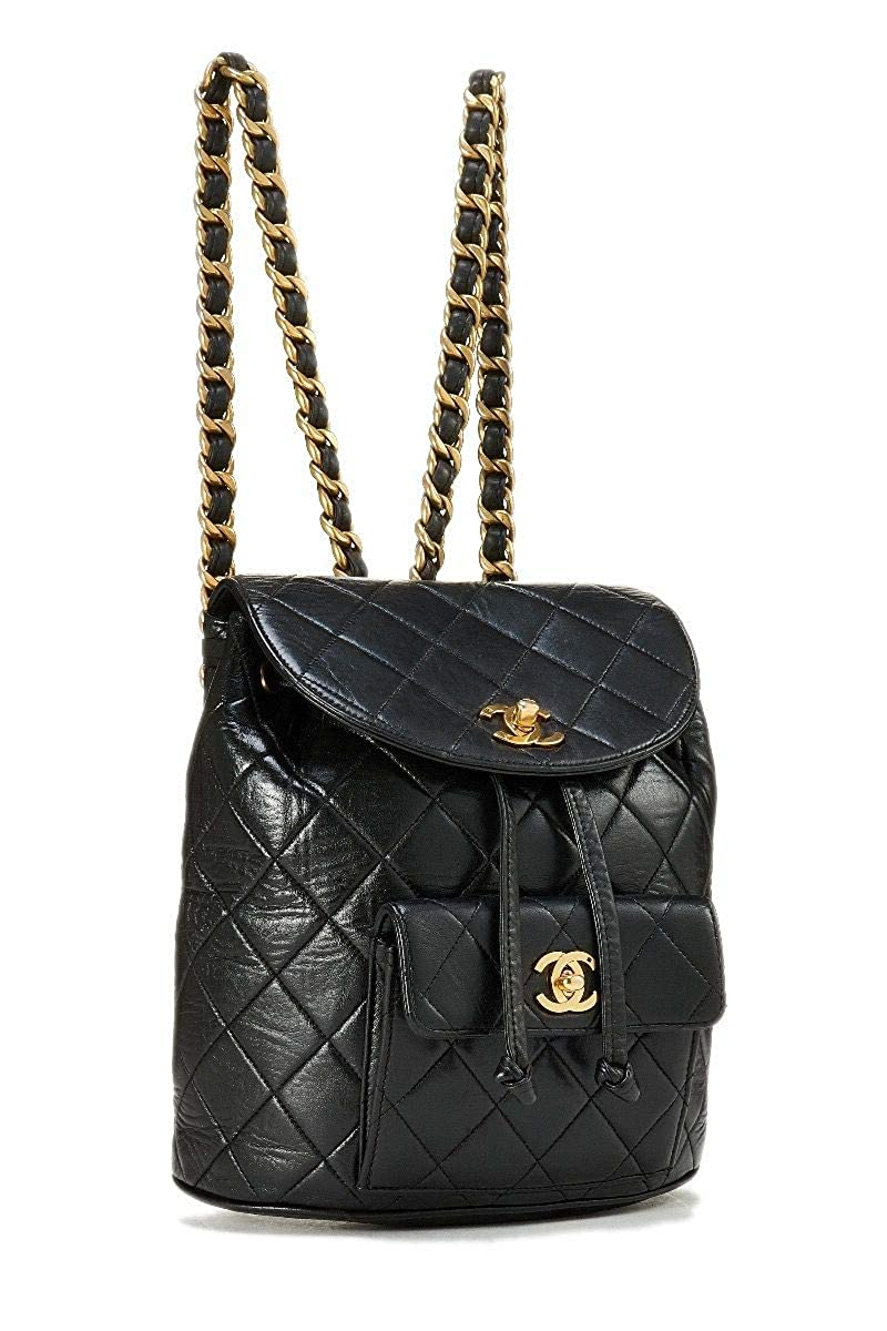 ac1b3cad2519 Amazon.com: CHANEL Black Quilted Lambskin Backpack (Pre-Owned): Shoes
