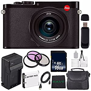 Leica Q (Typ 116) Digital Camera + Replacement Lithium Ion Battery + External Rapid Charger + 16GB SDHC Class 10 Memory Card + SD Card USB Reader + MicroFiber Cloth + 49mm 3 Piece Filter Kit Bundle