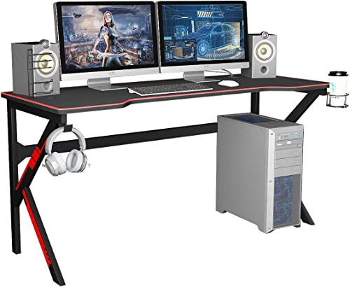 soges 63 inches Gaming Desk Computer Gamer Desk Large Computer Desk Workstation Office PC Desk