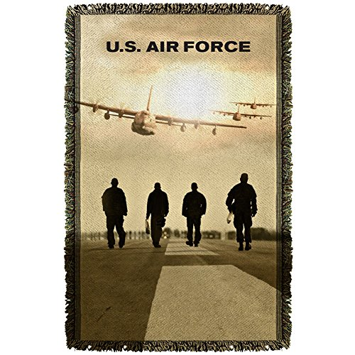 Trevco AF123 AIR FORCE/LONG WALK-WOVEN THROW-WHITE-48x80