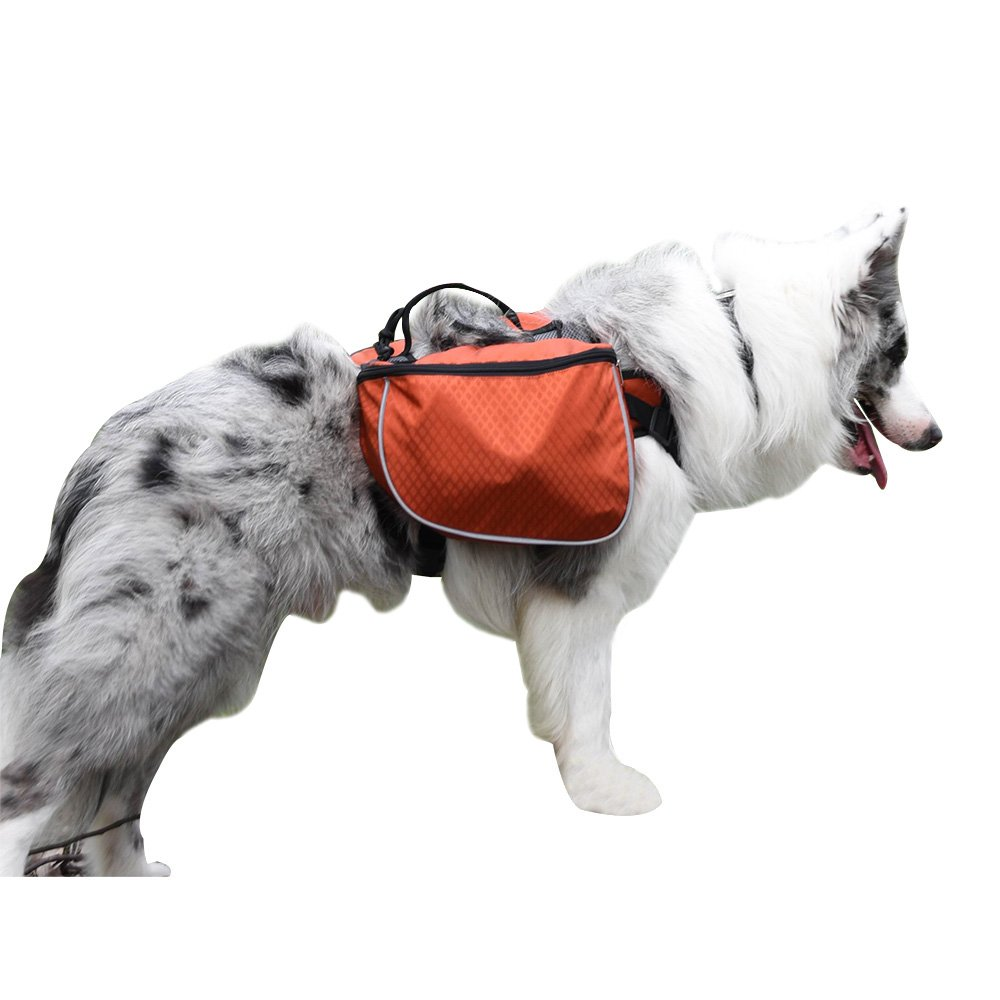 MY PET Dog Backpack Bagpacks Pack Back 2 in 1 Pets Harness Adjustable for Saddlebag Carry Products Camping Hiking Travel Training Waterproof Bag Accessories Orange L