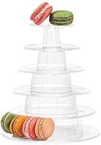 Fashionclubs 6 Tier Round Cake Stand Macaron Tower, Plastic Tiered Cupcake Dessert Display Stand Pastry Appetizers Serving Tray Platter Food Display for Wedding,Baby Shower or Birthday Party