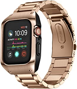 EloBeth Compatible with Apple Watch Band 44mm Series 4/5/6/SE with Case, Stainless Steel iWatch 44mm Bands with Protective Cover for Apple Watch SE & Apple Watch Series 6/5/4 44mm (Rose Gold)