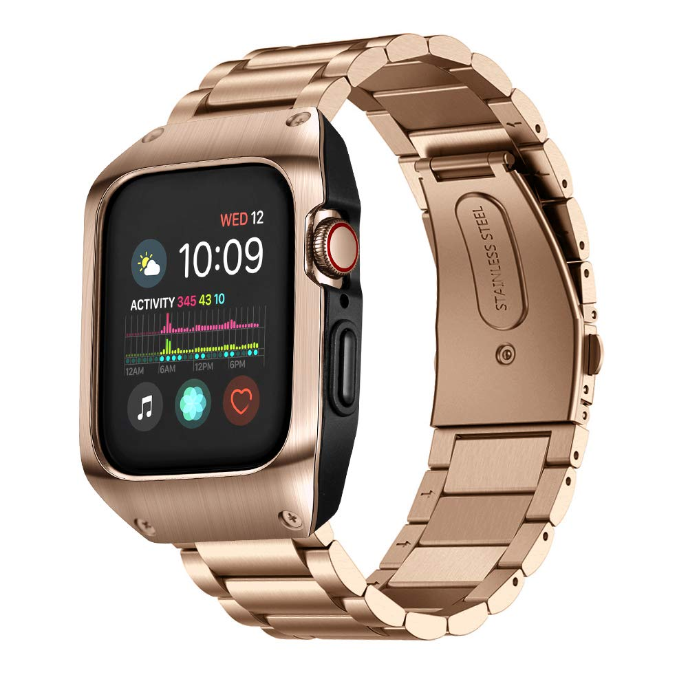 HATALKIN Compatible with Apple Watch Band 44mm Series 5 and Case, Men Stainless Steel Metal Band & Metal/Plastic Case for Iwatch 44mm Series5 (Rose Gold) by HATALKIN