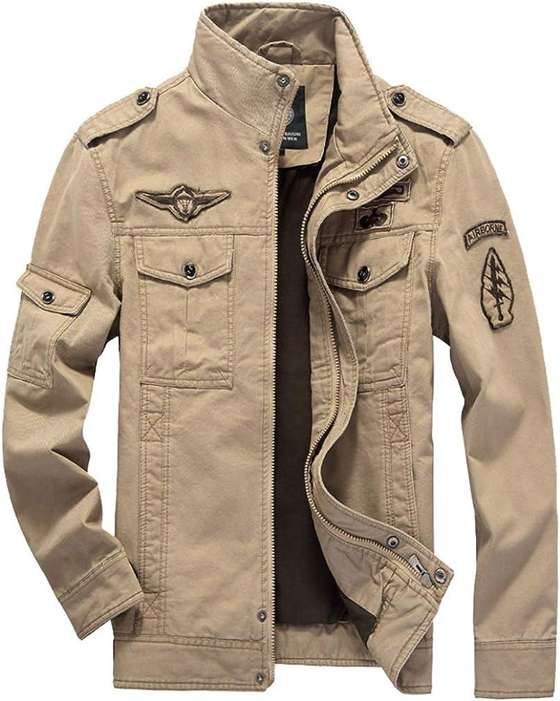AidShunn Giacche da Uomo Collare Militare Cotone Giacca a Vento Leggera Inverno con Zip Cappotti a Maniche Lunghe