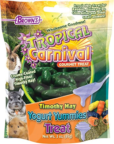 61QGgT0FV L - Tropical Carnival F.M. Brown's Timothy Hay Yogurt Yummies Treats with High Fiber for Rabbits, Guinea Pigs, Chinchillas, and Other Small Animals, 3-oz Bag