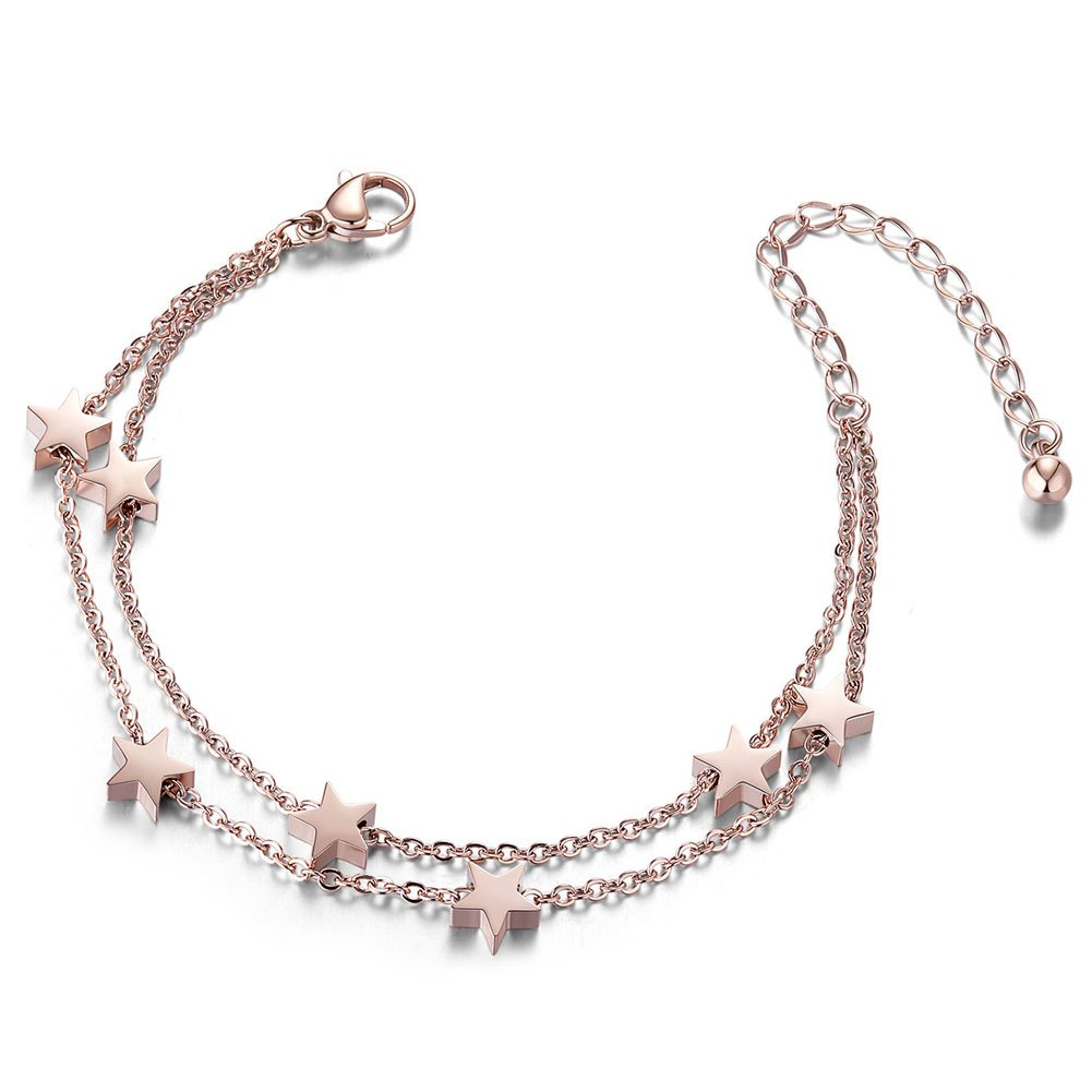 SHEGRACE Star Anklet Rose Gold, Double Chain Charms Anklet Bracelet for Women Beach, Casual