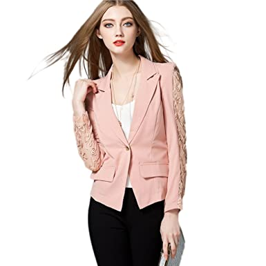 46711ce89ba Blazers For Women Casual Work Office Solid Color Knit One Button Long Sleeve  Blaze Jacket DMFS