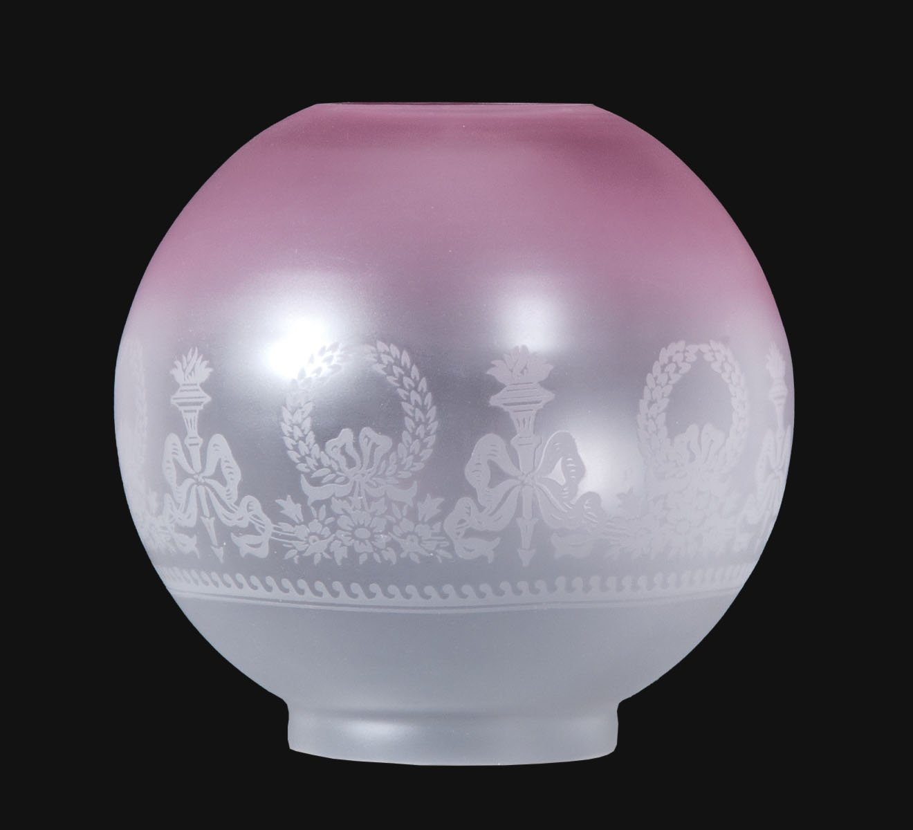 B&P Lamp 8'' Bows and Wreaths Shade Satin Etched Shade, Ruby Tint