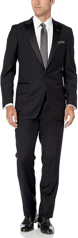 Giorgio Fiorelli Mens 2 Button 2 Piece Tuxedo Suit Modern Fit Black