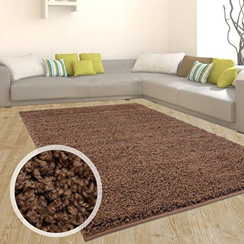 Teppich Shaggy Hochflor Einfarbig Flokati für verschiedene Zimmer Günstig Angebot Braun 160x220 cm