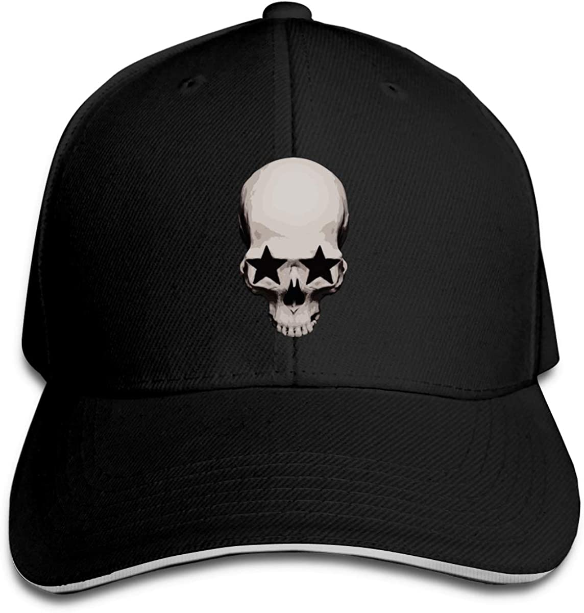 Skull with Star Eyes Classic Adjustable Cotton Baseball Caps Trucker Driver Hat Outdoor Cap Black