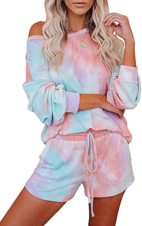 Asvivid Womens Soft Tie Dye Printed Hooded Pajamas Lounge Set Long Sleeve Tops and Shorts Nightwear Hoodie Sleepwear