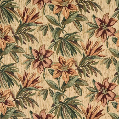 Cream and Burgundy Light Green Tropical Hawaii Floral Chenille Upholstery Fabric by the yard
