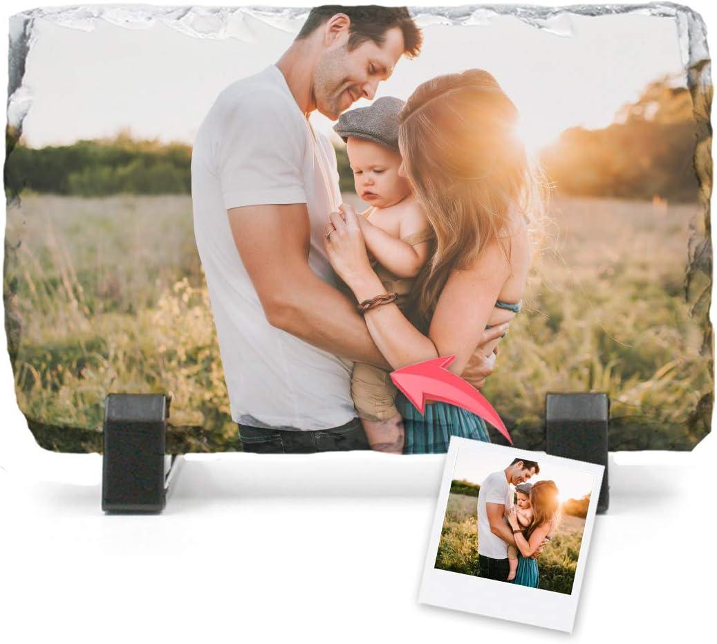 Portafotos Pizarra Personalizado con Tus Fotos y Texto | Diseña un portafotos con Tus Mejores diseños e imágenes | 14x8,5 cm