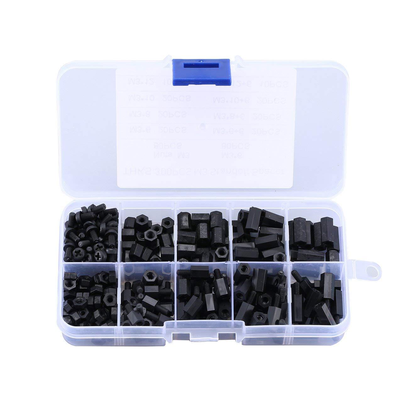 MachinYesell 300 PCS Noir M3 Nylon Entretoise Espaceurs M/âle Femelle Vis Hex Vis /Écrous Kits De R/éparation pour Electronique Carte M/ère Fixe Noir