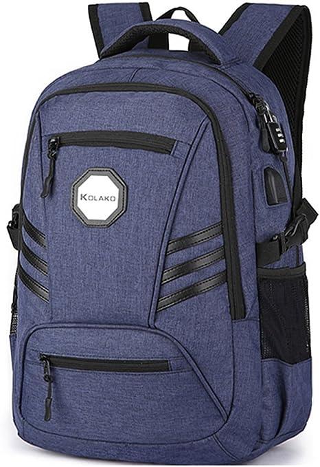 Negocios Mochila para portátil, impermeable Casual mochila de viaje, Colegio Mochilas de ordenador con USB puerto de carga para hombres, se adapta a