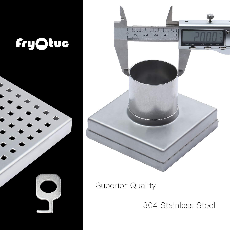 Fryotuc Rustproof Shower Drain 6 Inch Bathroom Floor Drain Brushed Shower Drain Cover with Quadrate Pattern by Fryotuc (Image #3)