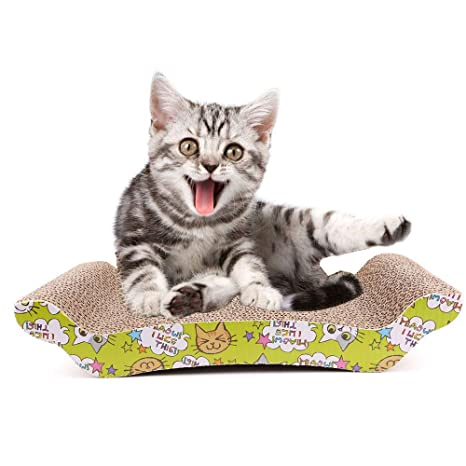 STGOOD Cat Scratching Pad, Recyclable Cardboard Corrugated Paper Scratching Board Sofa Bed for Pet Kitten
