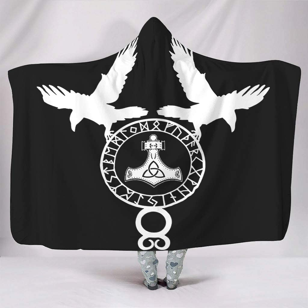 Black Ethnic Viking Raven Hammer Norse Runes Tattoo Odin Crow Keltic Runes Sketched Artwork Print Hooded Blankets Psychedelic Super Soft Warm Winter Thick Sherpa Hoodie Cape for white 50x60 inch