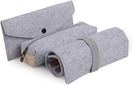 Juego de 3 estuches de fieltro para lápices, artículos de papelería: Amazon.es: Juguetes y juegos