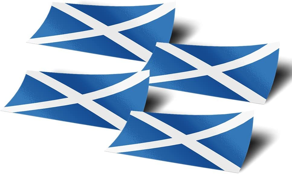 Scotland 4 Pack of 4 Inch Wide Country Flag Stickers Decal for Window Laptop Computer Vinyl Car Bumper Scrapbook 4