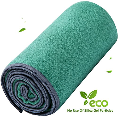 DubeeBaby Microfiber Hot Yoga Towel Non Slip Absorbent for Yoga Mat 24x72 inch Light Green
