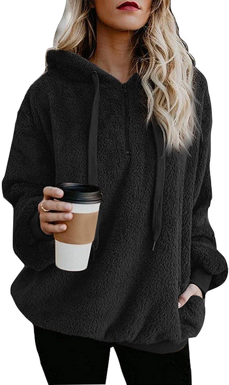 ReachMe Womens Oversized Sherpa Pullover Hoodie with Pockets Fuzzy Fleece Sweatshirt Fluffy Coat