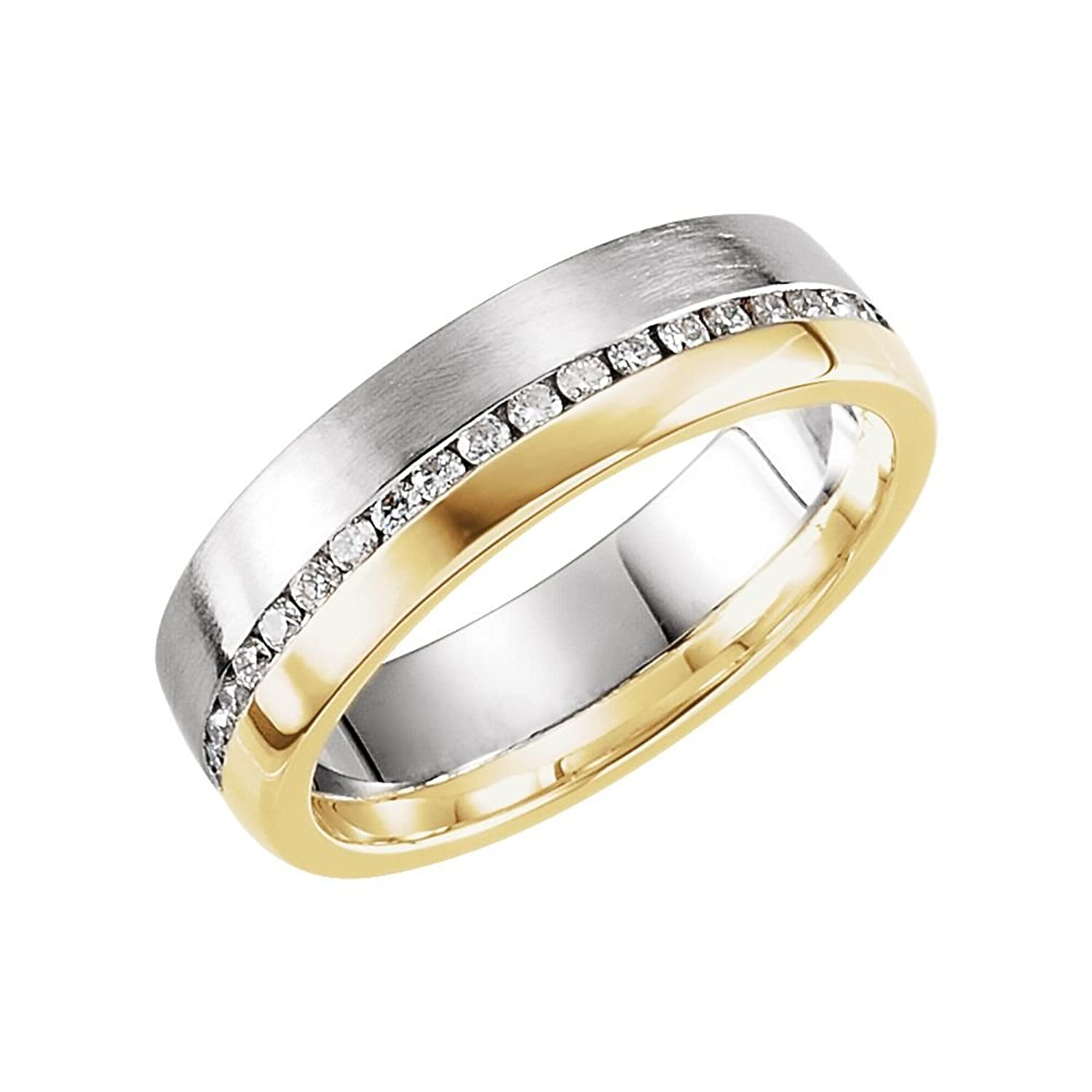 14k Two-Tone Gold (White/Yellow) Comfort-Fit 6mm 1/3 Ct Diamond Men Gents Wedding Band - Size 11