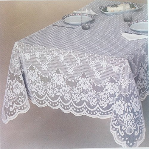 Veneza White and Ecru / ivory Lace Tablecloth, Floral Pattern available in various sizes and shapes. Perfect for wedding, banquet,party table (60