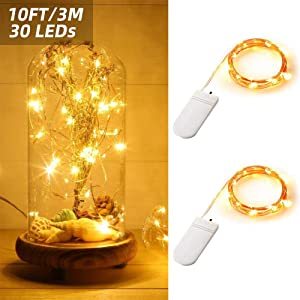 ANJAYLIA Starry String Lights 2 Pack 10ft 30LED Firefly Lights Battery Operated Silver Coated Copper Wire Lights Fairy Lights for Halloween Christmas Decoration Warm White