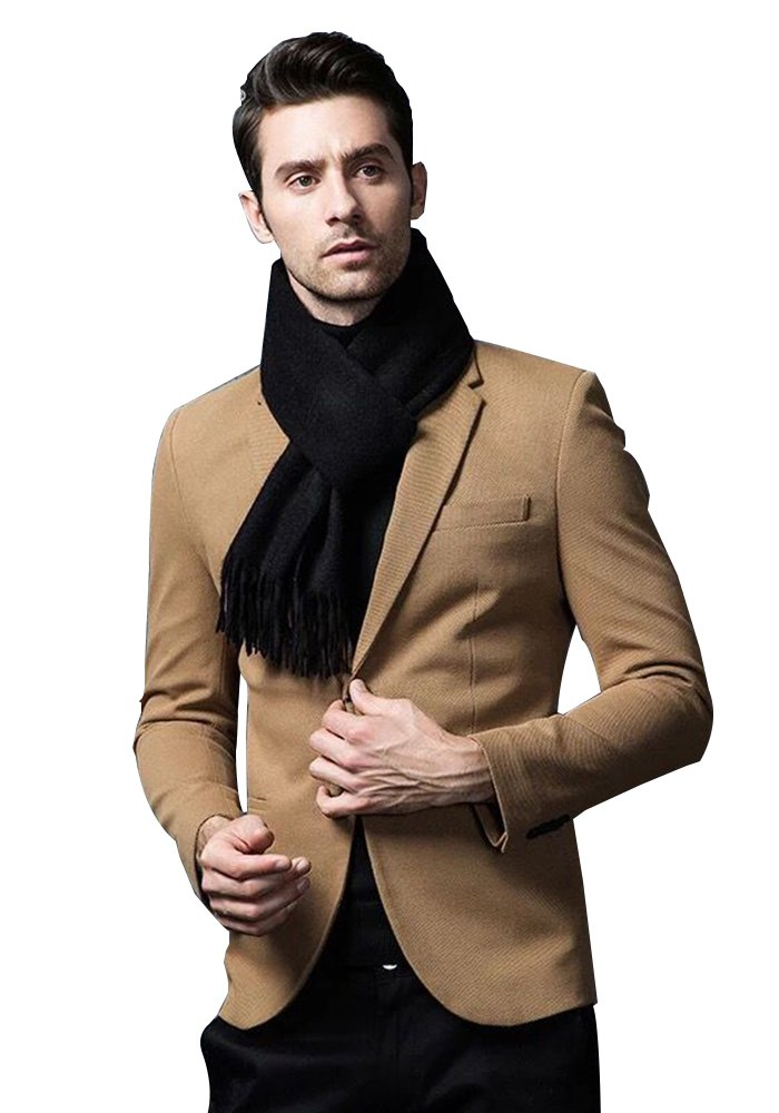 Black Cashmere & Wool Scarf Solid Color, Fashionable Thin Lightweight Scarf for Men and Women in Cold Weather with Gift Box