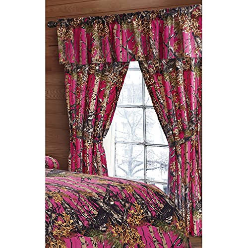 Regal Comfort The Woods Hot Pink Camouflage 5pc Curtain Set for Hunters Cabin or Rustic Lodge Teens Boys and Girls (Curtain, Hot Pink)