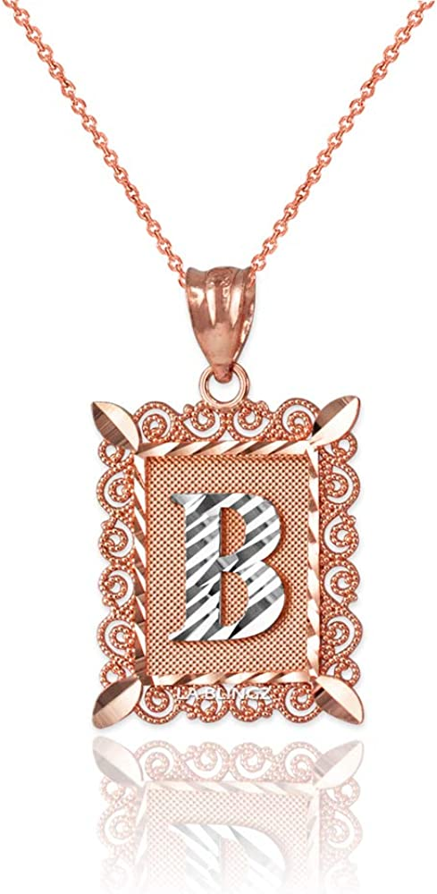 LA BLINGZ 10K Rose Gold Filigree Alphabet Initial Letter B DC Charm Necklace