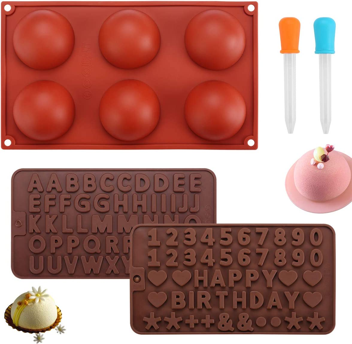 Silicone Molds for Chocolate, Hot Chocolate Bomb Mold with Letter Number Symbols Large 6 Cavity Semi Sphere Silicone Molds for Cake Jelly Cookie Dome Mousse(3 Pack Comes with 2 Droppers)