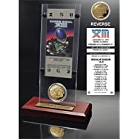 """$64 » NFL Pittsburgh Steelers Super Bowl 13 Ticket & Game Coin Collection, 12"""" x 2"""" x 5"""", Black"""