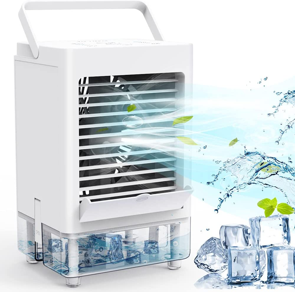 Personal Air Cooler, Portable Air Conditioner Fan with 1/2/4/8H Timer, 5000mAh Rechargeable Battery Operated 3 Wind Speeds & 3 Refrigeration, Ice Cooler Fan for Home Bedroom Office Outdoor