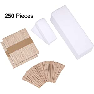 250 Pieces Wax Strips Sticks Kit Includes Non-woven Waxing Strips Facial Wax Strips and Wooden Wax Applicator Sticks for Body Skin Hair Removal