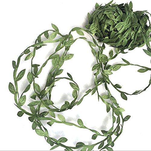ADECOR 21.8 Yards Olive Green Leaves Leaf Trim Ribbon for Home Decoration, DIY Leaf Headband, Office Wedding Wall ()
