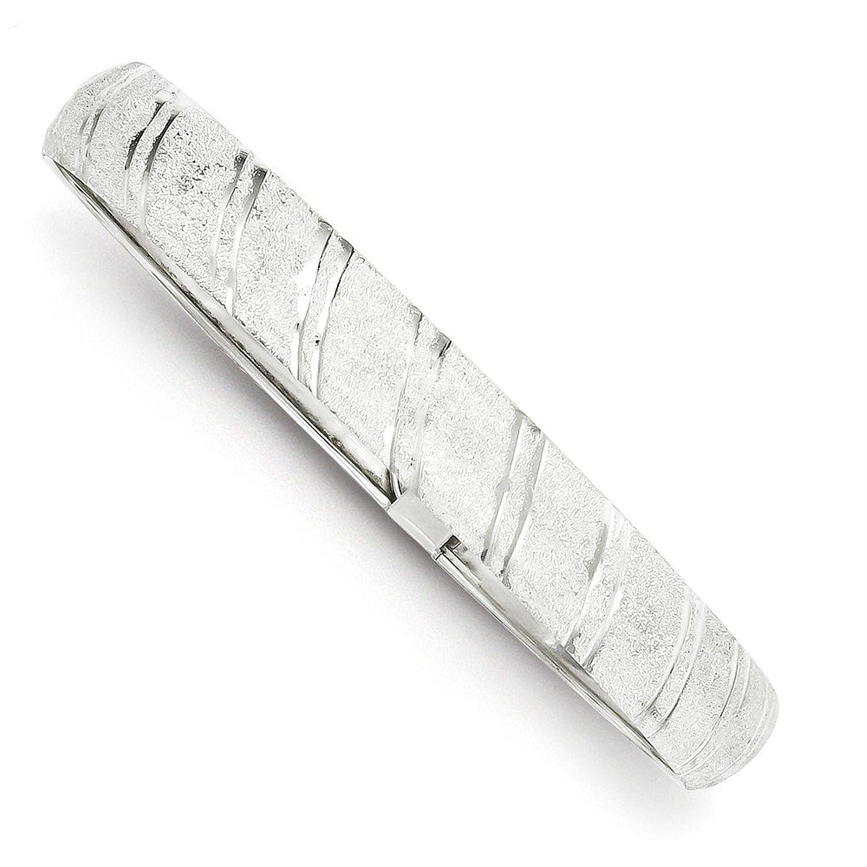 Sterling Silver 10.5mm Polished & D/C Flexible Bangle,8