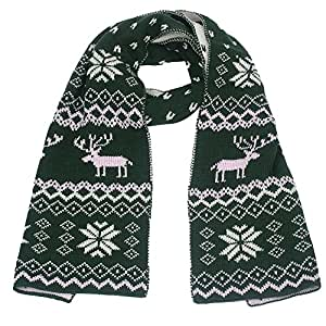 Bessky Christmas Reindeer Snowflake Scarf Warm Thick Winter Shawl Xmas Gift (Green)